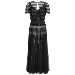 1960s Black Sheer and Sequin Gown Ensemble