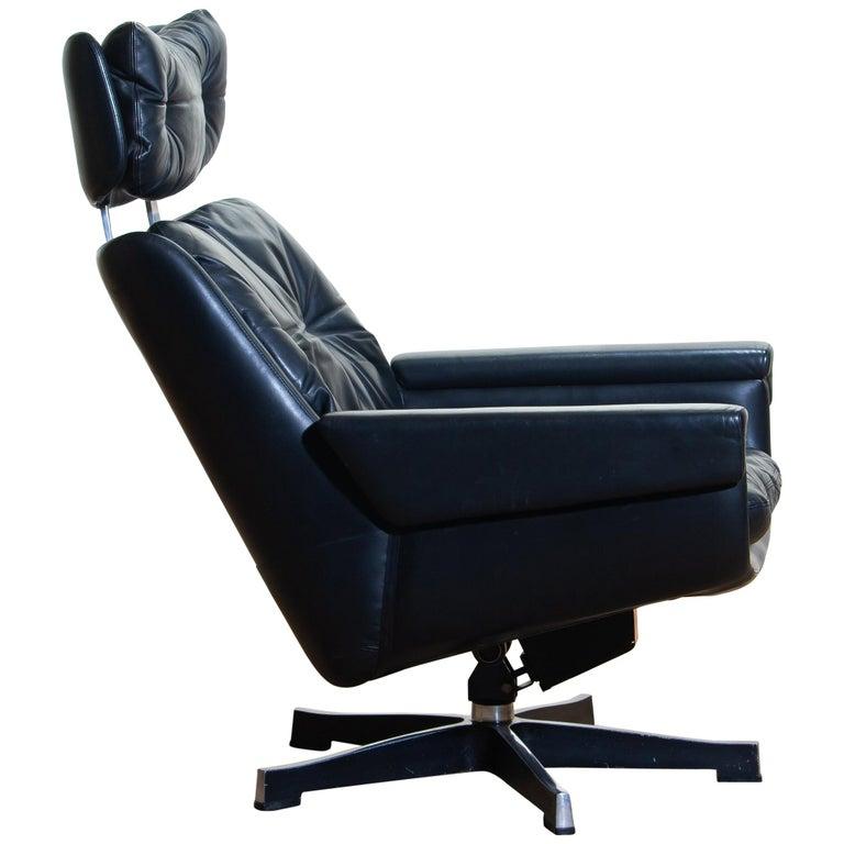 Awesome 1960S Black Soft Leather Swivel And Rocking Chair By Kurt Inzonedesignstudio Interior Chair Design Inzonedesignstudiocom