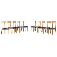 1960s Black Steel and Leather Set of ten Dining Chairs by Roberto Aloi