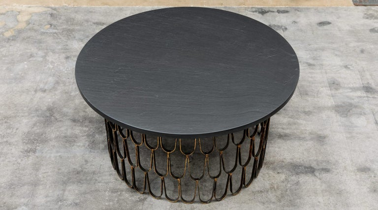 Coffee table, gilt and enameled steel, slate, giltwood, by Paul Evans and Phillip Lloyd Powell, USA, 1960.  A wonderful, unique piece, finished with three different materials: gilded and enamelled steel, slate, gilded wood. Manufactured by Paul