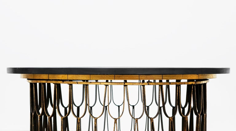 American 1960s Black Steel, Giltwood Coffee Table by Paul Evans and Phillip Lloyd Powell For Sale