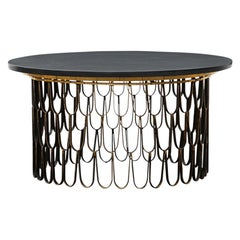 1960s Black Steel, Giltwood Coffee Table by Paul Evans and Phillip Lloyd Powell
