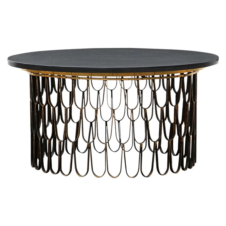 1960s Black Steel, Giltwood Coffee Table by Paul Evans and Phillip Lloyd Powell For Sale