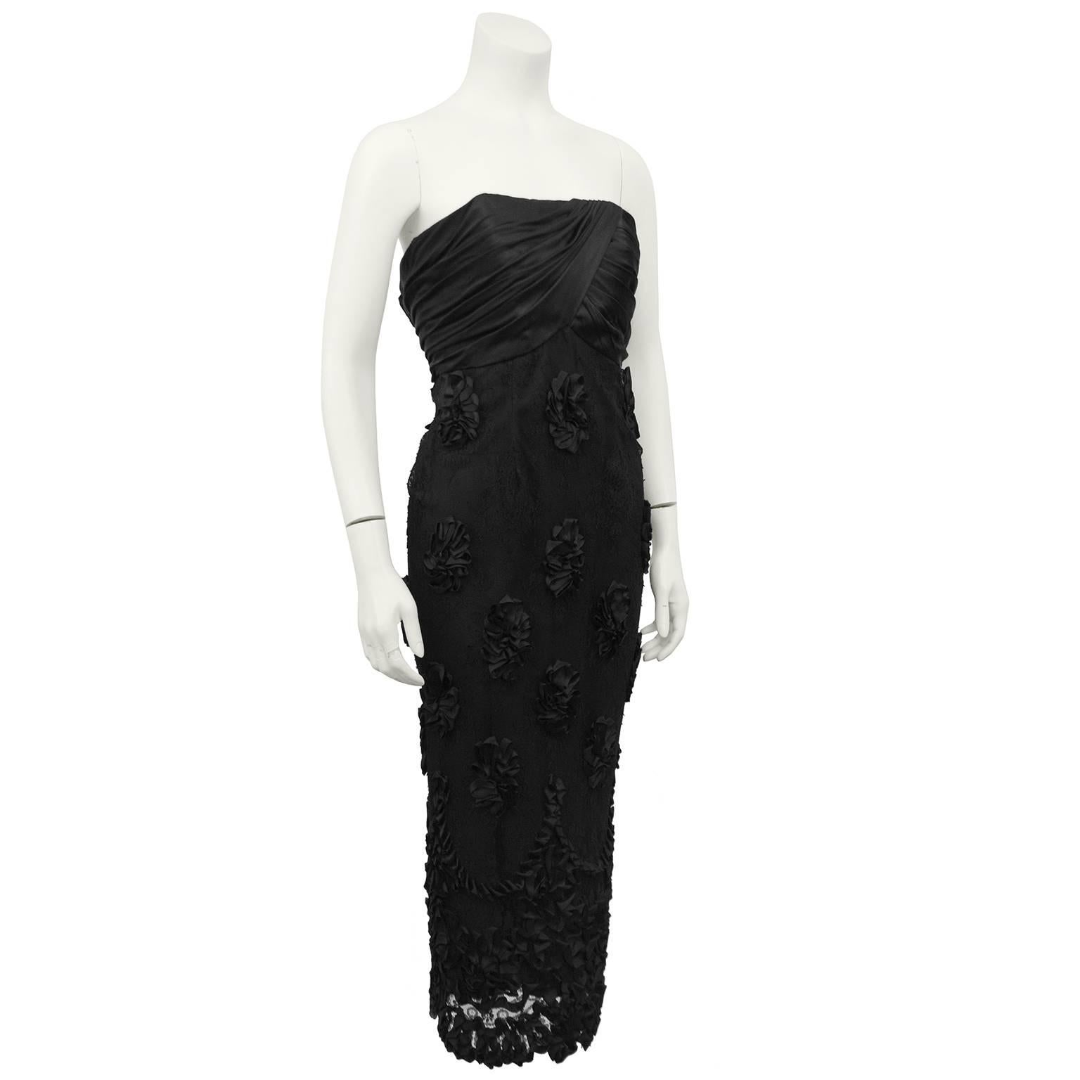 1960s Black Strapless Cocktail Dress with