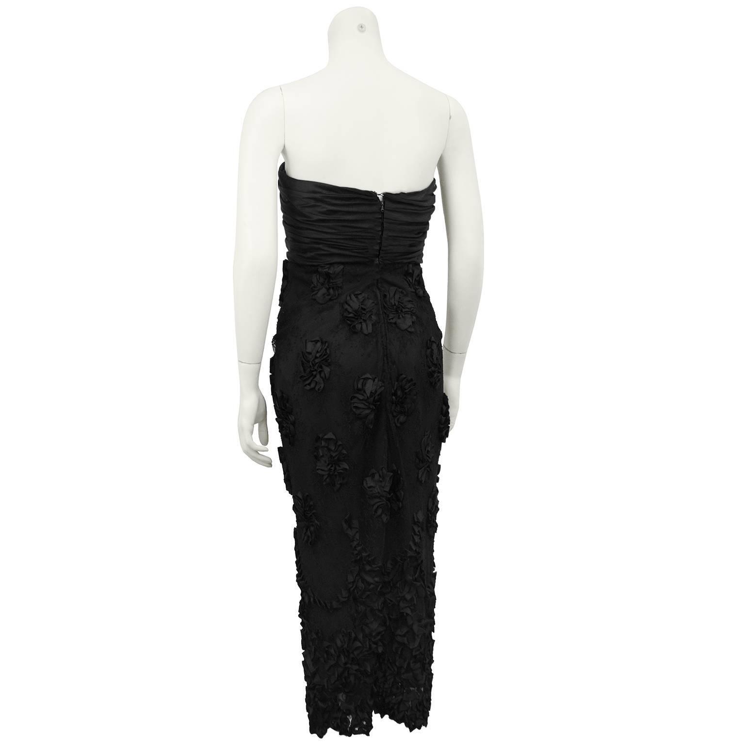 1960s Black Strapless Cocktail Dress