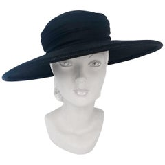 1960's Black Straw Hat with Wide Tiered Satin Band and Bow