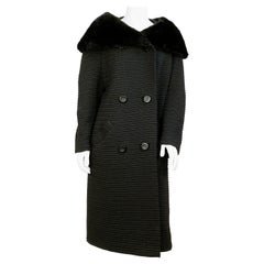 1960s Black Textured Wool Coat with Fur Collar
