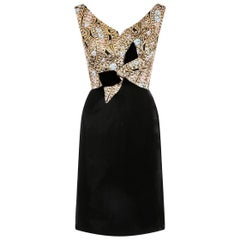 1960s Black Velvet and Gold Lame Cocktail Dress With Bow Detail