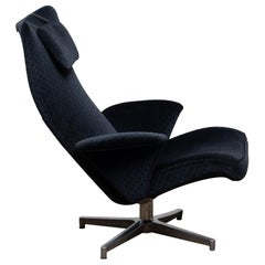 1960s, Black Velvet Contourett Ronto Swivel Chair by Alf Svenson for DUX, Sweden
