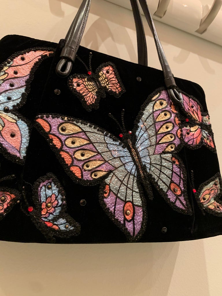 1960s Black Velvet Handbag with Colorful Butterfly Appliques  For Sale 7
