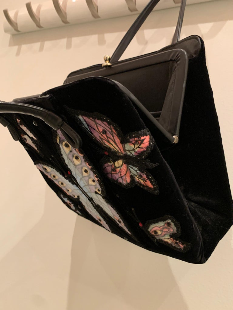 1960s Black Velvet Handbag with Colorful Butterfly Appliques  For Sale 1
