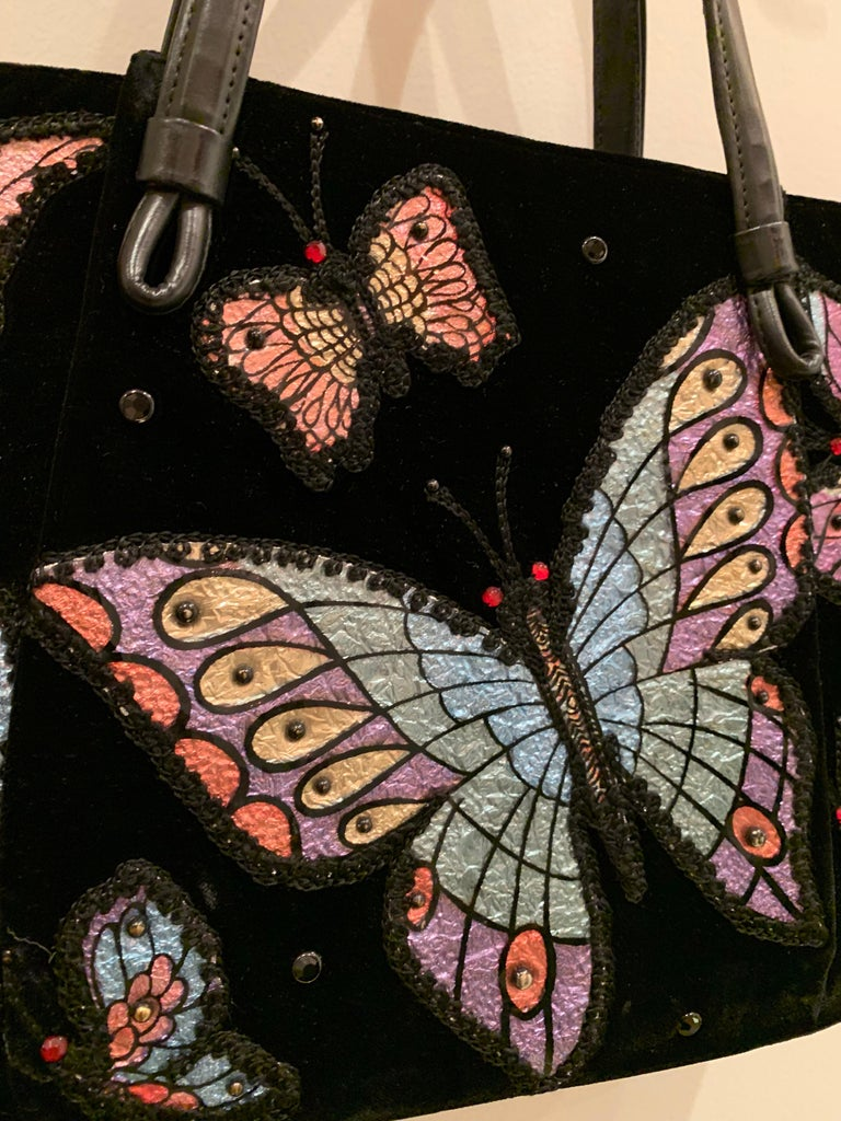 1960s Black Velvet Handbag with Colorful Butterfly Appliques  For Sale 2