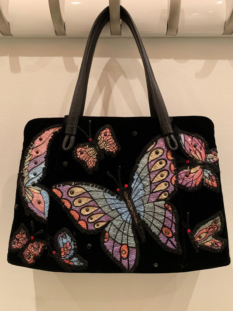 1960s Black Velvet Handbag with Colorful Butterfly Appliques  For Sale 5