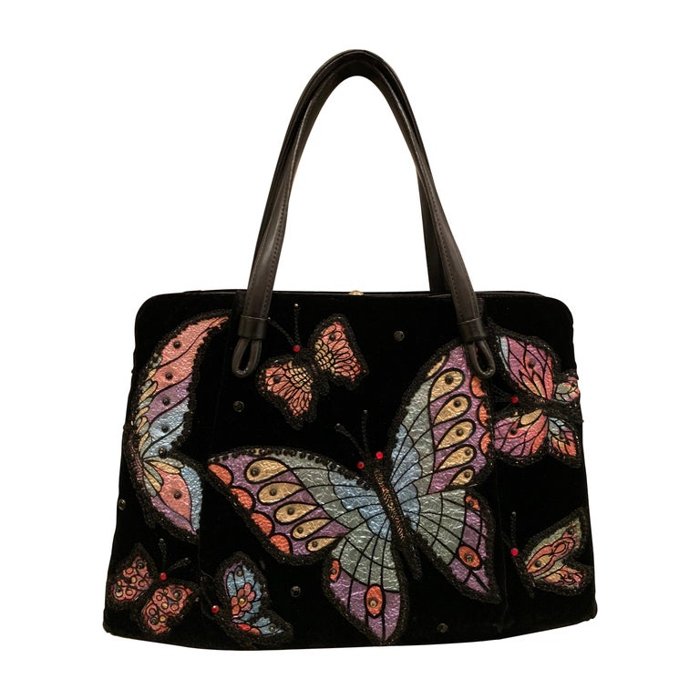 1960s Black Velvet Handbag with Colorful Butterfly Appliques  For Sale
