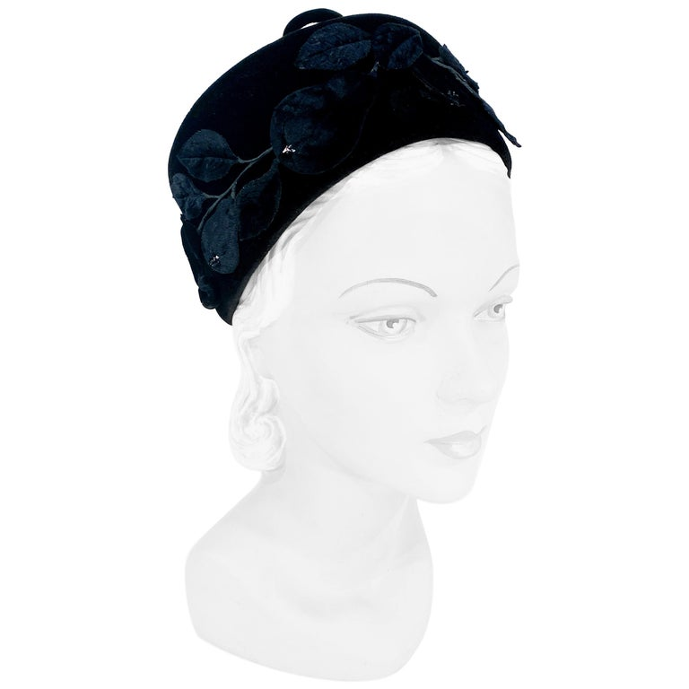 1960s Black Velvet Pillbox Hat with Fruit Accents For Sale