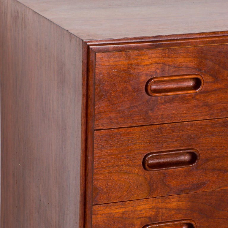 American 1960s Black Walnut Highboy Chest of Drawers Nakashima Simple Style, USA For Sale