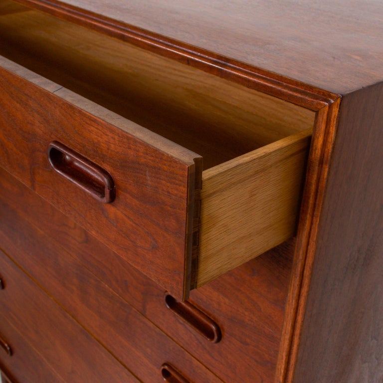 1960s Black Walnut Highboy Chest of Drawers Nakashima Simple Style, USA In Good Condition For Sale In National City, CA