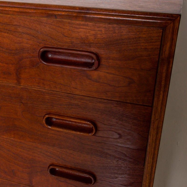 Mid-20th Century 1960s Black Walnut Highboy Chest of Drawers Nakashima Simple Style, USA For Sale