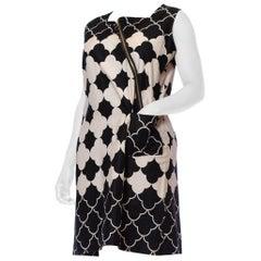 1960S Black & White Mod Cotton Dress With Diagonal Zipper