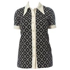 1960S Black & White Polyester Jaquard Knit Op-Art Micro Mini-Dress Tunic Top