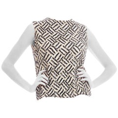 1960S Black & White Wool Knit Geometric Beaded Op Art Top With Silk Lining