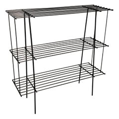 1960s Black Wire Rack Book Shelf