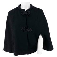 1960s Black Wool Caplet