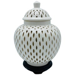 1960s Blanc De Chine Ginger Jar Lantern Lamp