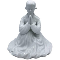 1960s Blanc de Chine Porcelain Praying Geisha in Kimono Sculpture