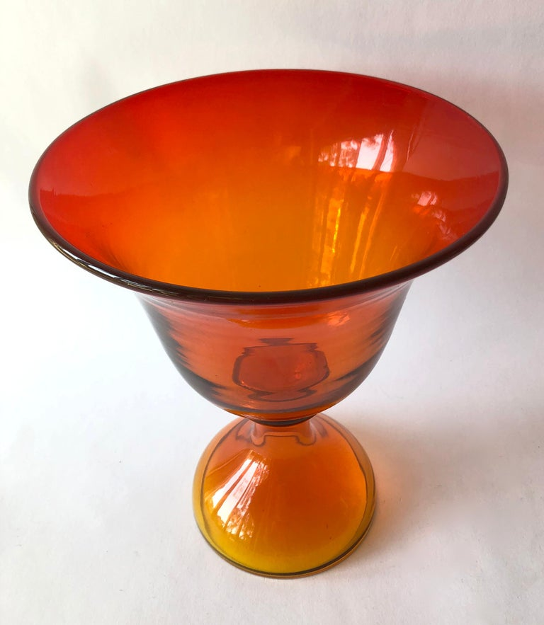 Blenko tangerine footed bowl. Measures 10.5