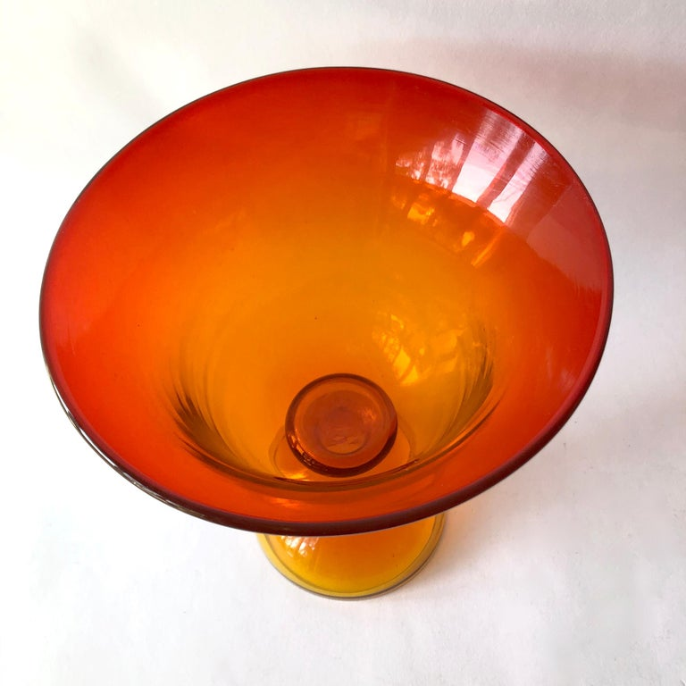 American 1960s Blenko Tangerine Mid-Century Modern Footed Bowl For Sale