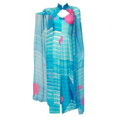 1960's Hanae Mori Blue and Pink Silk Asian Slip Dress with Sheer Cape