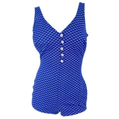 1960s Blue and White Gingham Pattern Bathing Suit