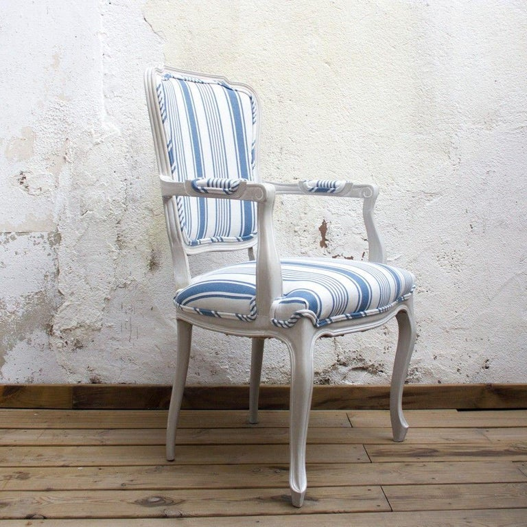1960s Blue And White Striped Vintage Armchairs For Sale At