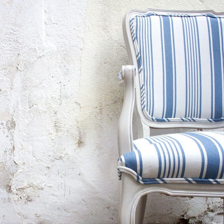 1960s Blue and White Striped Vintage Armchairs For Sale at ...
