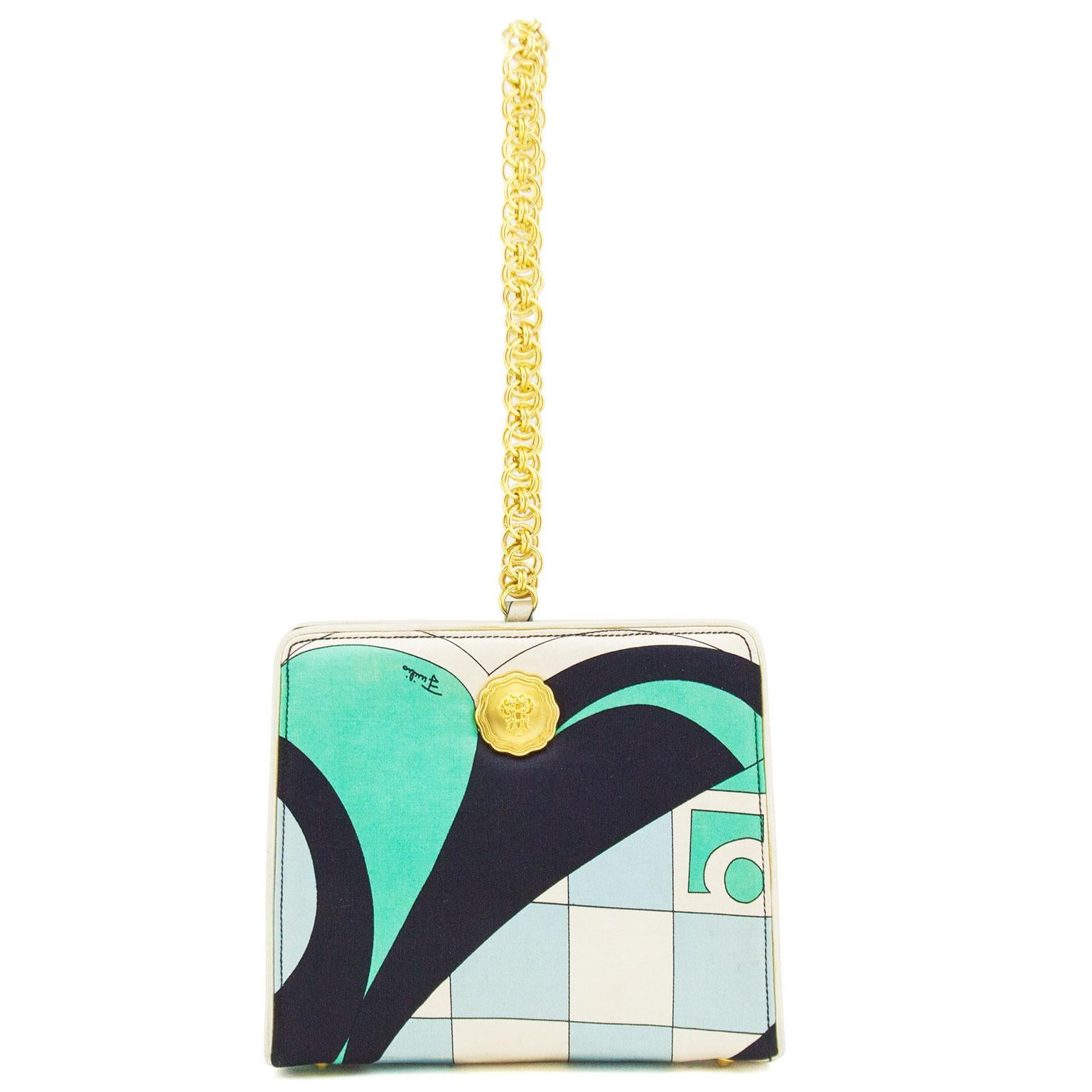 e8da1c4dfb9f 1960s Blue, Black Green and Cream Pucci Silk Wristlet Evening Bag For Sale  at 1stdibs