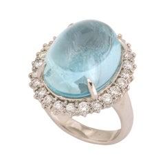 1960's Blue Cabochon Aquamarine and Diamond Princess Diana Style Platinum Ring