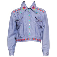 1960S Blue Cotton Blend Chambray Studded & Floral Embelished Cropped Jacket