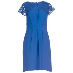 1960S Blue Rayon Crepe Dress With Squiggle Lace Collar