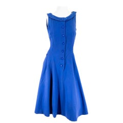 1960s Blue Fitted Wool Dress