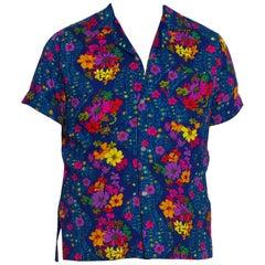 1960S Blue Floral Cotton Barkcloth Men's Hawaiian Shirt