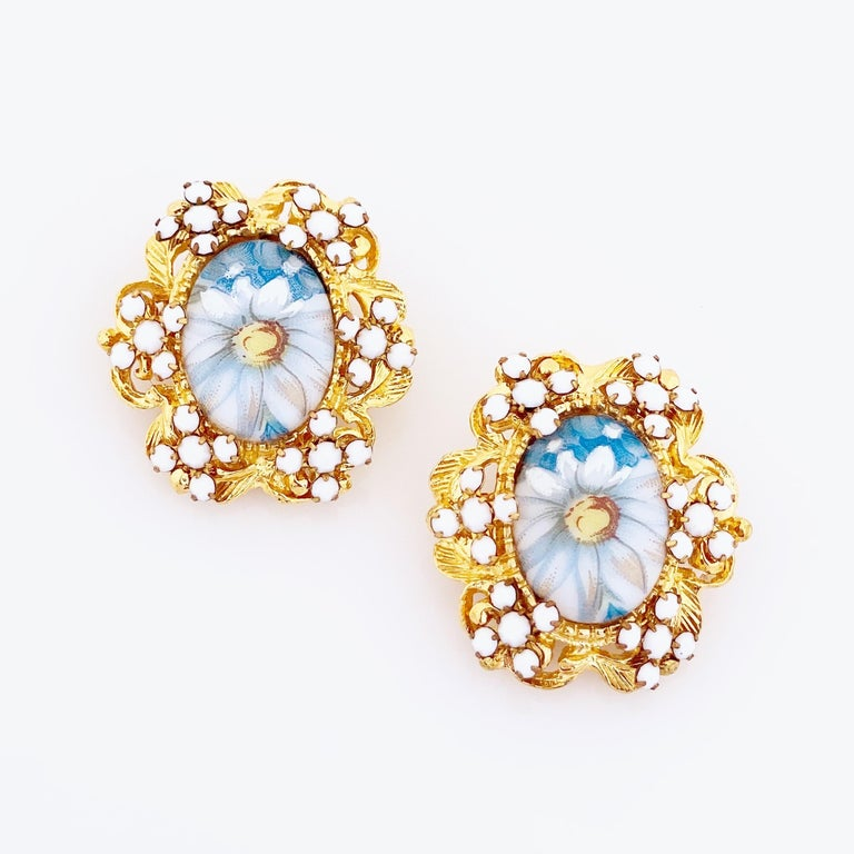 Modern 1960s Blue Floral Limoges Earrings With Milk Glass Rhinestones By Alice Caviness For Sale
