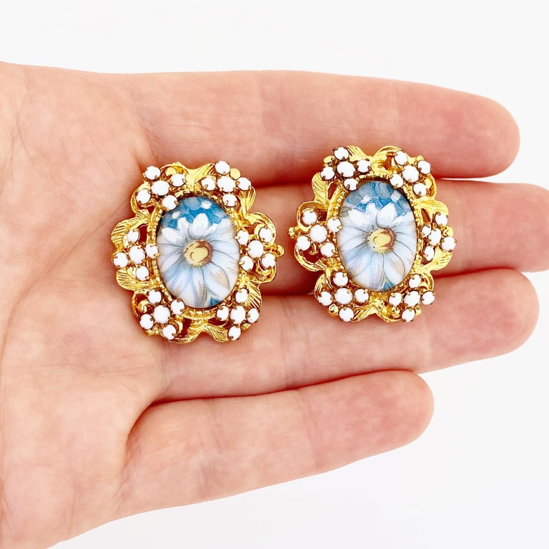1960s Blue Floral Limoges Earrings With Milk Glass Rhinestones By Alice Caviness For Sale 1