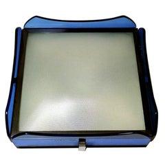 Fontana Arte for Veca Italian Blue Glass Ceiling Lamp