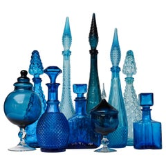 1960s Blue Glass Italian Empoli Set of Ten Bottles or Decanters and Candy Jars
