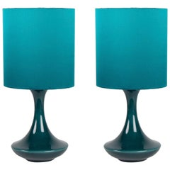 1960s Blue Glazed Ceramic and Blue Shades Lamps