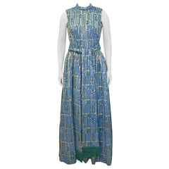1960's Blue, Gold and Green Brocade Gown