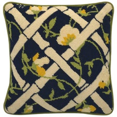 1960s Blue, Green, and White Bamboo Motif Needlepoint Pillow