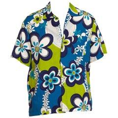 1960S Blue & Green Cotton Barkcloth Men's Mod Floral Hawaiian Shirt