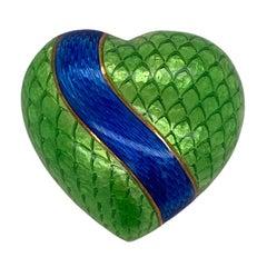1960's Blue & Green Enamel 18 Karat Yellow Gold Vintage Heart Brooch Pin